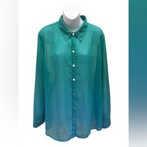 Chico's Long Sleeve Ombre Button Down Blouse